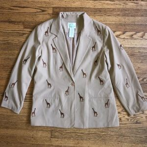 Quacker Factory Beige Embroidered Giraffe Blazer